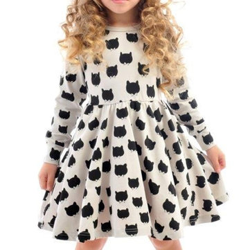 Girls's Cartoon Casual Dress 2-9Y