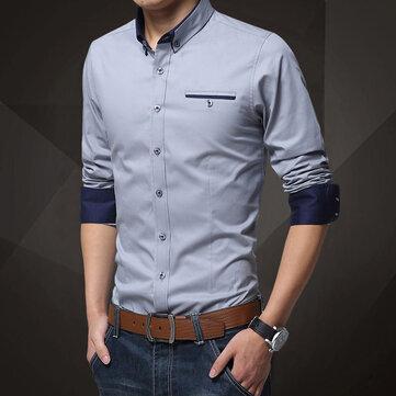 New Four Seasons Shirt Men's Solid Color Long-sleeved Shirt Cotton Non-iron Shirt Casual Business Slim Men's Shirt