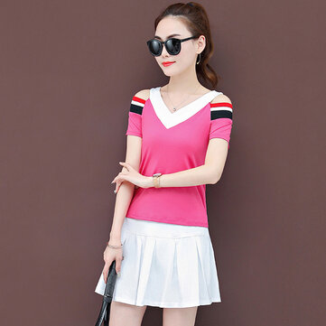 Women's Season New Suit Female Short Skirt Strapless T-shirt Casual Two-piece Suit 710