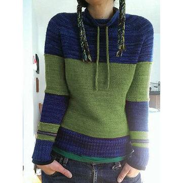 Contrast Color Turtleneck Sweater