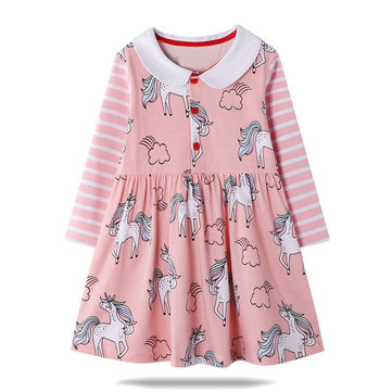 Girl's Unicorn Striped Dress For 1-9Y
