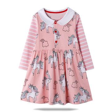 Mädchen Einhorn gestreift Kleid Für 1-9Y