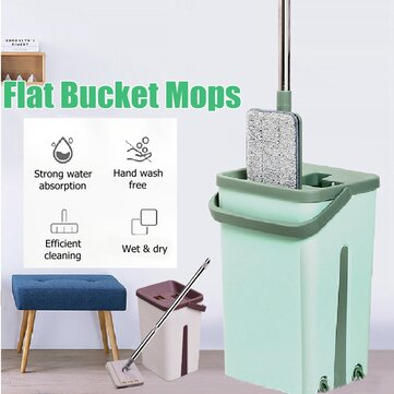 Self Cleaning Drying Wringing Mop Bucket System Flat Floor + 2 Microfiber Pads