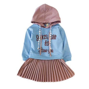 Girls Hooded Pleated Dress For 2-9Y