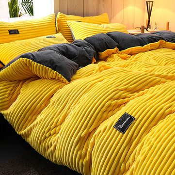 3/4 Pcs AB Sided Thicken Corduroy Velvety Winter Bedding Set