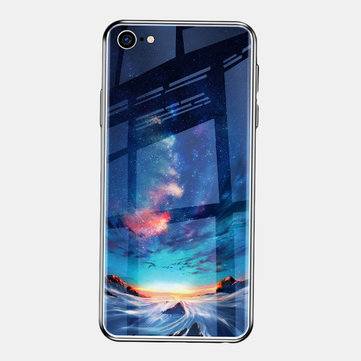 Sky Painted Tempered Glass Tpu Soft iPhone Phone Case