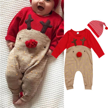 Baby Elk Print Jumpsuits With Hats For 0-24M
