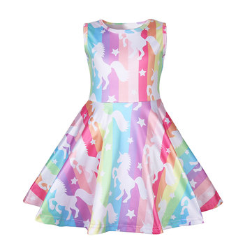Colorful Unicorn Girl's Dress For 3-11Y