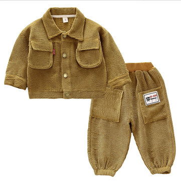 Baby Pocket Patchwork Corduroy Set For 1-5Y