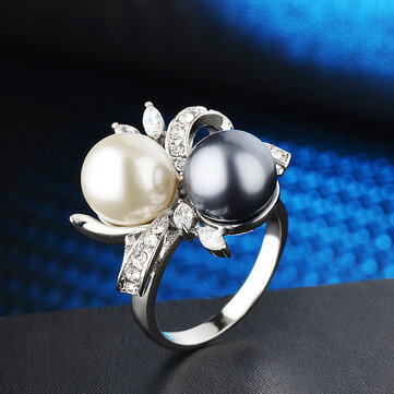 Two-tone Pearl Inlaid Rings