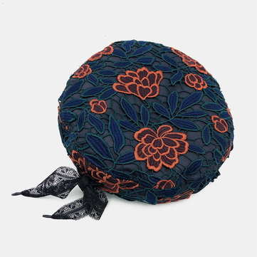 Chinese Pattern Dome Cap Beret Hat Lace Tie