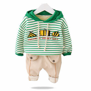 Boys Striped Hoodie Thicken Set For 1-5Y