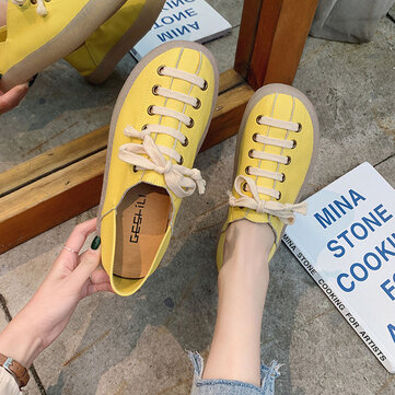 Lace Up Solid Color Casual Flat Shoes