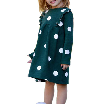 Girl's Dot Pattern Dress For 2-9Y