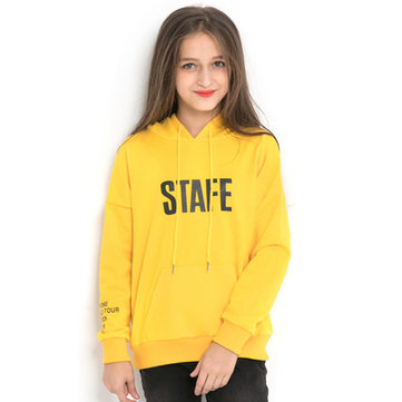 Girl's Letter Printing Hooded Sweater For 6-15Y