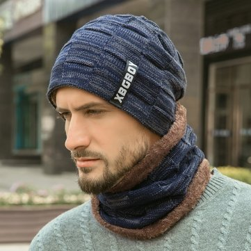 Men's Knitted Hat With Velvet Padded Wool Beanie Hat