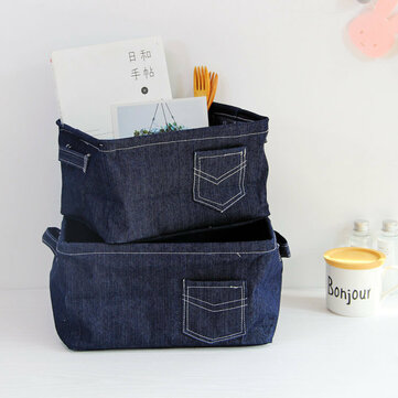 New Simple Denim Fabric Storage Basket