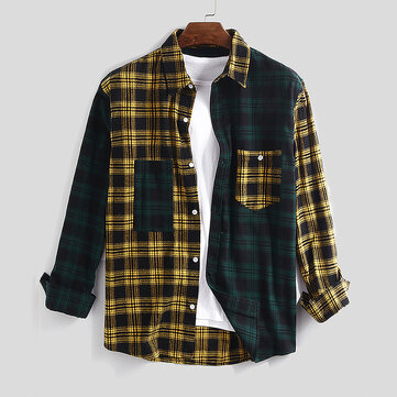 100% Cotton Plaid Patchwork Shirts