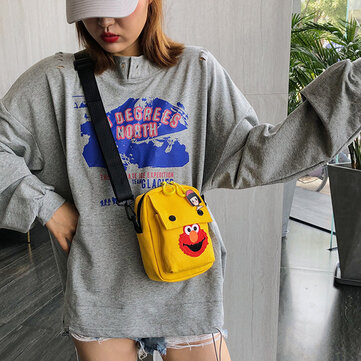 Canvas Messenger Bag Female Wild Ins Day Small Bag Female New Casual Sesame Street Cute Phone Bag