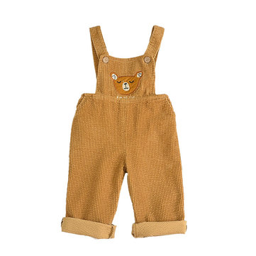 Toddler Bear Pattern Corduroy Overalls For 1-7Y