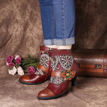 Folkways الرجعية نمط أحذية جلدية حقيقية