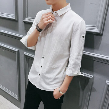 Spring Seven-point Sleeve Shirt Boys Casual Sleeve Shirt Shirt College Students Solid Color Korean Slim 7-sleeve Shirt