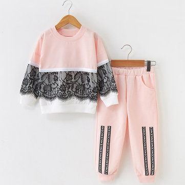 Girl's Lace Stitching Sweater Set For 3-11Y