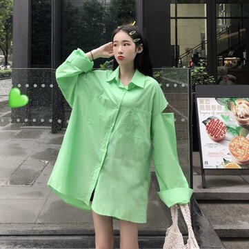 Tops Shirts Wild Women New Loose Candy Color Ins Shirt Long Sleeve Sun Protection Clothing Season Tide