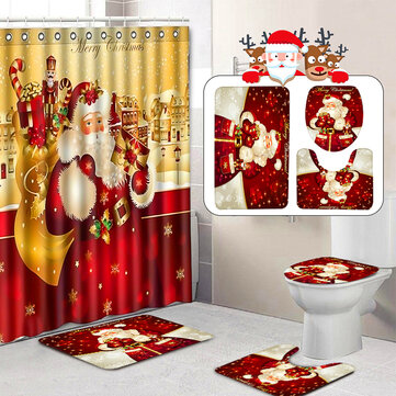 4Pcs Christmas shower Curtain Bathroom Anti-slip Carpet Rug Toilet Cover Mat Set