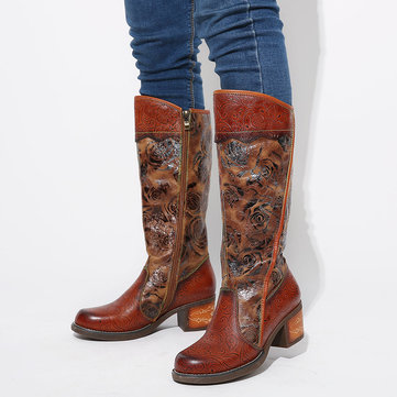 Painted Rose Leather Stitching Mid Calf Boots