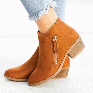 Chunky Heel Short Single Boots