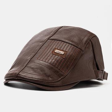 Boina de cuero para hombre Sombrero Gorra informal de vendedor de periódicos cálido Sombreros
