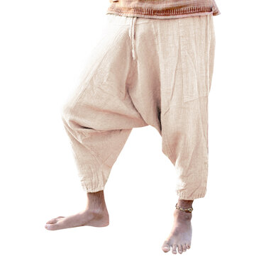 Mens Summer Loose Cotton Pants