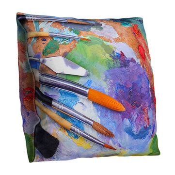 Watercolor Oil Brush Pattern Cushion Cover