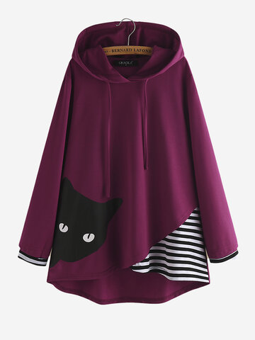Felpa con cappuccio Cartoon Cat Stripe Patchwork