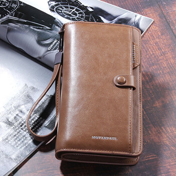 Men Rfid Antimagnetic Genuine Leather Zipper Purse Wallet