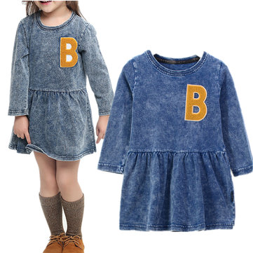 Girl's Embroidery Demin Dress 2-9Y