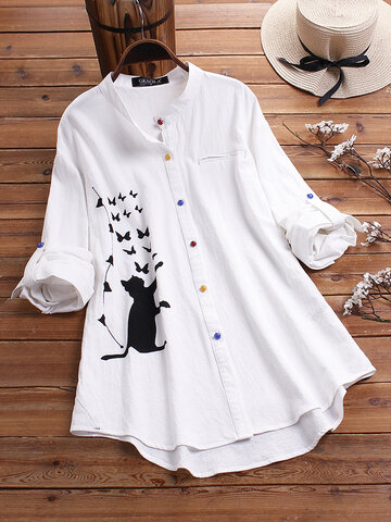 Gato Blusa de manga larga estampada Colorful Botón Camisa