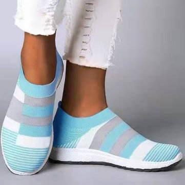Splicing Knit Elastic Flat Sneakers