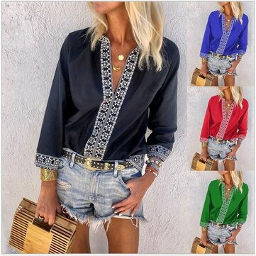 2019 New Deep V Eight-sleeve Digital Printing Casual Shirt Female Explosion Models 5 Colors