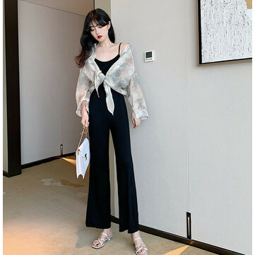 Installed A New Immortal Foreign Playful Two-piece Female Thin Wide Leg One-piece Pants Sunscreen Shirt Suit