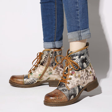 Retro Newspaper Pattern Ankle Boots