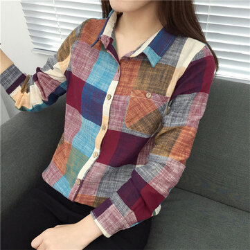 Cotton And Linen Plaid Shirt Female Long-sleeved Cotton Shirt New Student Casual Loose Shirt Female