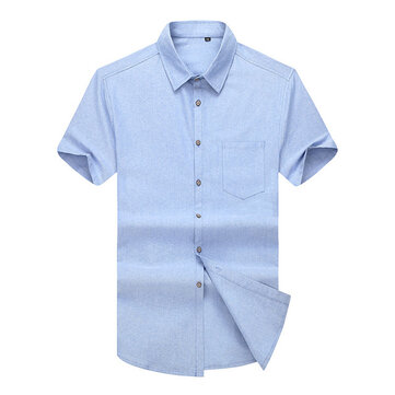 Summer New Men's Solid Color Oxford Spinning Short-sleeved Thin Shirt Loose Half-sleeved Shirt Plus Fertilizer XL Fat People