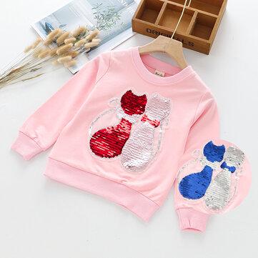 Mädchen Pailletten Farbwechsel Pullover für 3-11Y