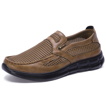 Men Mesh Fabric Splicing Breathable Shoes