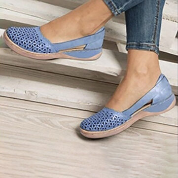 Comfy Breathable Hollow Slip On Flats