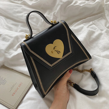 Season Love Lock Buckle Trapeze Handbag New Fashion Texture One Shoulder Personality Wild Portable Messenger Bag