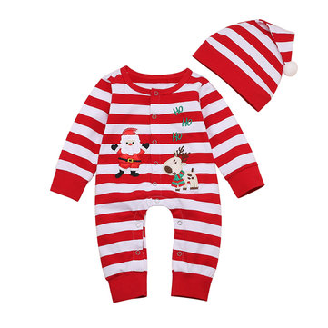 2PCs Baby Santa Striped Rompers For 0-24M
