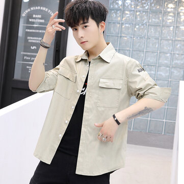 2019 Spring New Shirt Male Korean Version Of The Slim Men's Cotton Long-sleeved Shirt Cardigan Men's Casual Shirt Male